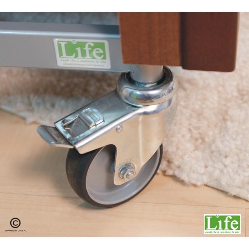 Letto rotante Girevole Rolling Plus Noce-ruote con freno - LIFE ausili che ti cambiano la vita