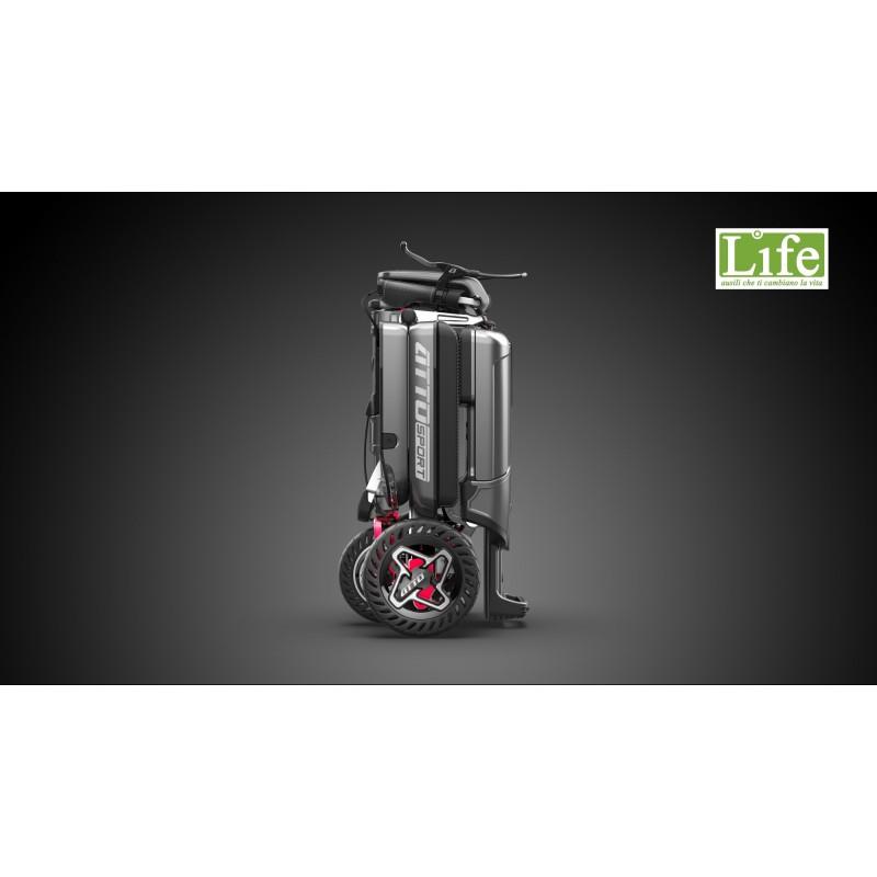 Scooter elettrico pieghevole ATTO Sport per anziani e disabili modalità trolley laterale