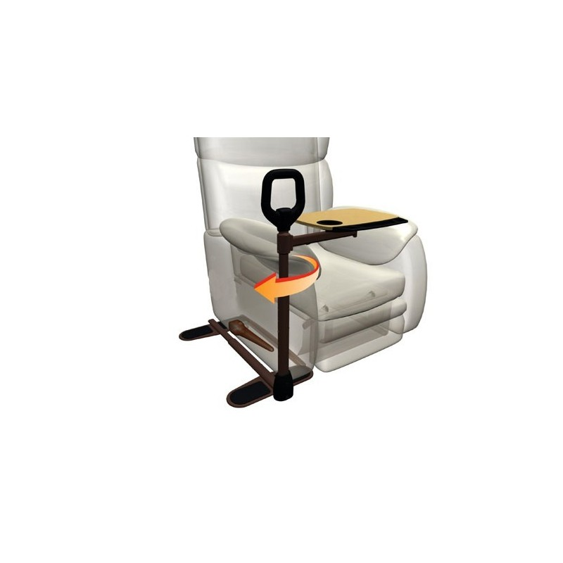Liberty l'ausilio che aiuta ad alzarsi e sedersi, dotato di tavolino girevole, che si adatta alla tua poltrona e divano.